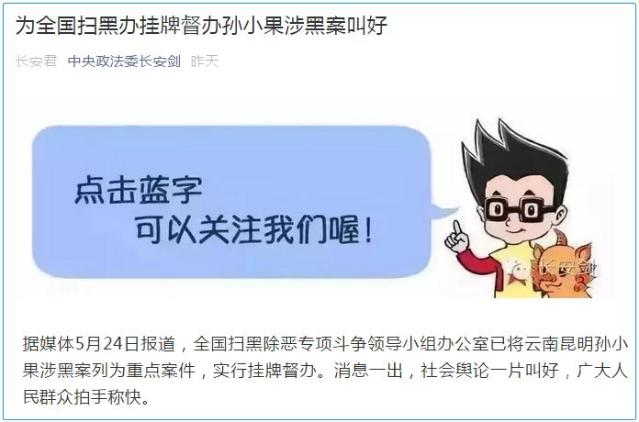中央政法委:为全国扫黑办挂牌督办孙小果涉黑案叫好