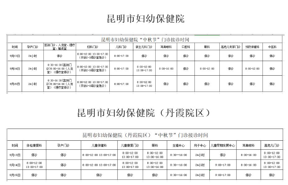 中秋节昆明各大医院门诊接诊时间来了2.png