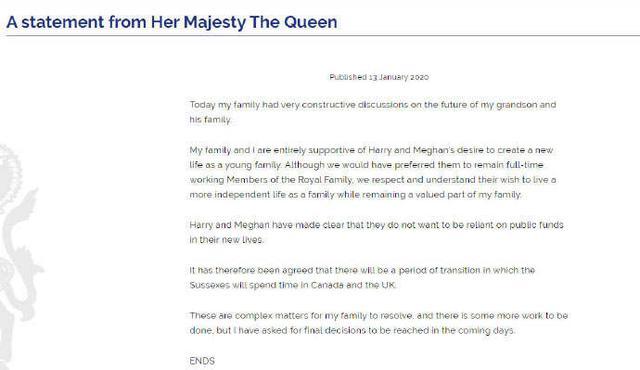 """英国女王发声明:支持哈里和梅根""""开始新生活""""2.jpg"""