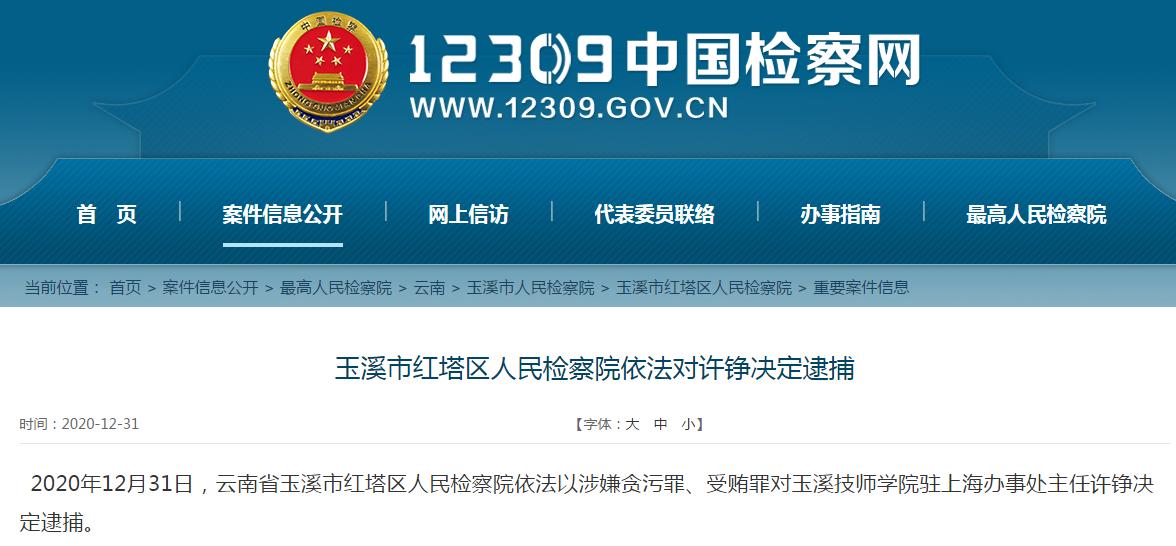 玉溪市红塔区人民检察院依法对许铮决定逮捕