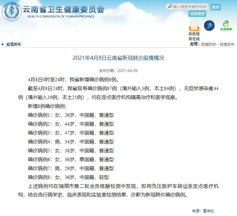 4月8日,云南新增确诊病例8例,均来自瑞丽