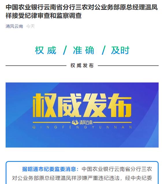 中国农业银行云南省分行三农对公业务部原总经理温凤祥接受纪律审查和监察调查.png
