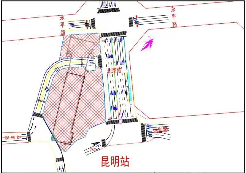 昆明地铁2号线二期昆明火车站站16日起交通导改施工1.jpg