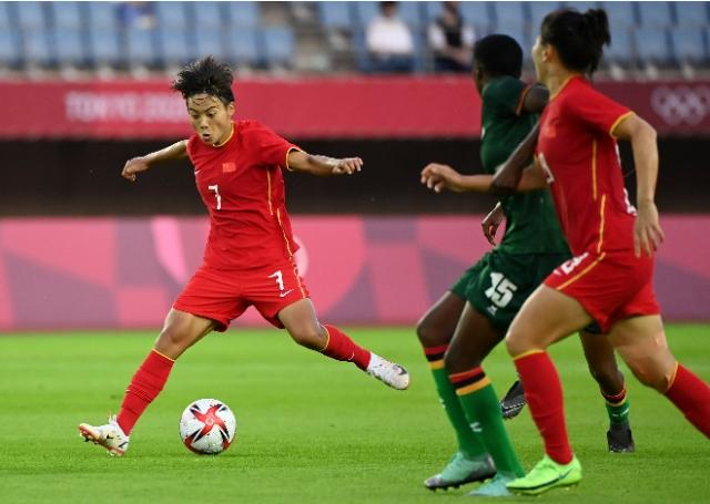 王霜独中四球!中国女足战平赞比亚队 图片来源于新华社