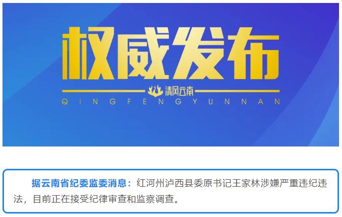 红河州泸西县委原书记王家林接受纪律审查和监察调查
