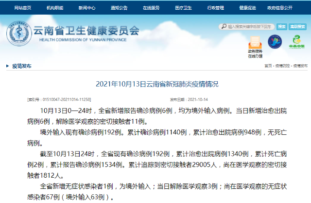 10月13日,云南新增境外输入确诊病例6例